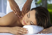 Woman Outside At Health Spa Having Relaxing Massage — Stock Photo