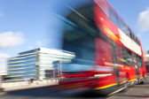 Red London Double Decker Bus Motion Blurred — Stock Photo