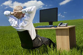 Businessman Relaxing at Desk With Computer In A Green Field — Stock Photo