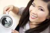 Beautiful Chinese Oriental Asian Woman Drinking Tea or Coffee — Stock Photo