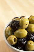 A Bowl of Stuffed Green and Black Olives — Stock Photo