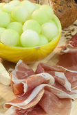 Parma Ham, Melon, Bread and Cheese — Stock Photo