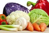 выбор органических овощей, изолированные на белом фоне — Стоковое фото