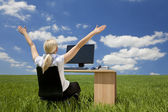 Businesswoman Using Computer In A Green Field — Stock Photo