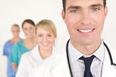 Male Doctor and Female Nurses Medical Team — Stock Photo