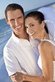 Bride & Groom Married Couple at Beach Wedding — Stock Photo