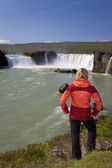 Woman Tourist At Godafoss Waterfall, Iceland — Stock Photo