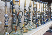 Arabic Shisha Waterpipes Lined Up In A Restaurant — Foto Stock