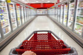 Fast Food Concept Motion Blur Shopping Trolley in Supermarket — Photo