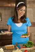 Attractive Woman or American Mom Making Sandwiches In Home Kitch — Stock Photo