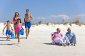 Mother, Father Children & Grandparents Family on Beach — Stock Photo