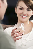 Beautiful Brunette Woman On A Romantic Date — Stock Photo