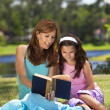 Woman and Girl, Mother and Daughter, Reading a Book Together Out — Stock Photo #6673207