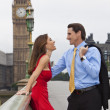 Romantic Couple on Westminster Bridge by Big Ben, London, Englan — Stock Photo