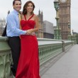 Stock Photo: Romantic Couple on Westminster Bridge by Big Ben, London, Englan