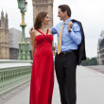 Romantic Couple on Westminster Bridge by Big Ben, London, Englan — Stock Photo