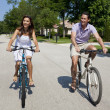 Romantic Man and Woman Couple Cycling Together — Stock Photo #6673272