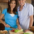 Attractive Man & Woman Couple In Kitchen Making Healthy Sandwich — Stock Photo