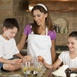 Mother, Son & Daughter Family In Kitchen Cooking Baking — Stock Photo