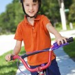 Young Boy Child Cycling on His Bicycle — Stock Photo