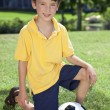 Young Boy Outside Playing With Football or Soccer Ball — Stock Photo #6673378