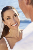 Smiling Bride & Groom Married Couple at Beach Wedding — Stockfoto