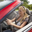 Beautiful Young Woman Driving Convertible Car — Stock Photo