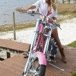 Sexy Blond Woman In Bikini and Shorts on Chopper Motorbike — Stock Photo