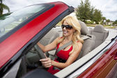 Beautiful Young Woman Driving Convertible Car Wearing Sunglasses — Stock Photo
