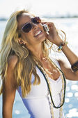 Chamando à beira-mar — Fotografia Stock