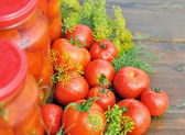 Tomatoes canning — Stock Photo