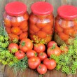 Canned tomatoes. — Stock Photo