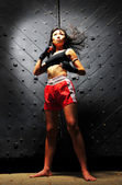 Asian Chinese Muay Thai Fighter in pose — Stock Photo
