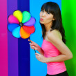 Beautiful Young Woman With Fan — Stock Photo