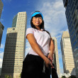 Asian Chinese Girl in Golf Poses — Stock Photo