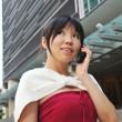 亚洲中国办公室女孩在各种姿势 — 图库照片