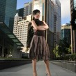 Asian Chinese Office lady posing in front of office — Stockfoto