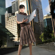 Asian Chinese Office lady with her file — Foto Stock