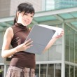Asian Chinese Office lady with her file — Stock Photo