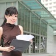 Asian Chinese Office lady with her file — Stock Photo #6369082