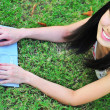 Asian chinese lady with her laptop outdoors — Stock Photo #6539249