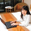 Royalty-Free Stock Photo: Beautiful chinese office lady working in her hotel room