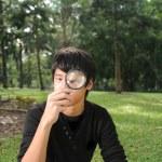 屋外のアジア中国の少年 — ストック写真