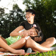 图库照片: Two siblings outdoor having a picnic