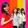 Asian Chinese girls in group poses — Stock Photo