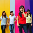 Asian Chinese girls in group poses — Foto Stock