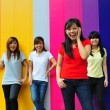 Asian Chinese girls in group poses — ストック写真