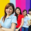 Four Asian Chinese Girls in happy poses — Stock Photo