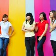 Asian chinese girl outcast from group — Stock Photo