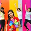 Four asian girlfriends in various poses — Stock Photo #6543473